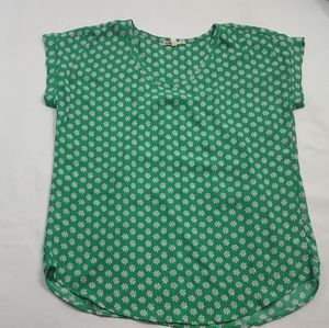 Anthropologie Pleione Green Floral Blouse Top